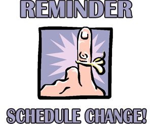 MASS TIME CHANGE – August 12th